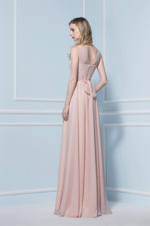 V-neck A-line Sleeveless Natural Floor-length Bridesmaid Dresses