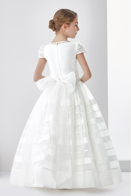 Nectarean Ball Gown Short Sleeve Hand Made Flowers Floor-length Orgnaza Communion Dresses