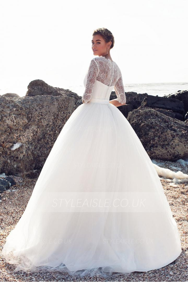 Half Sleeve Lace Top Ball Gown Tulle Wedding Dress