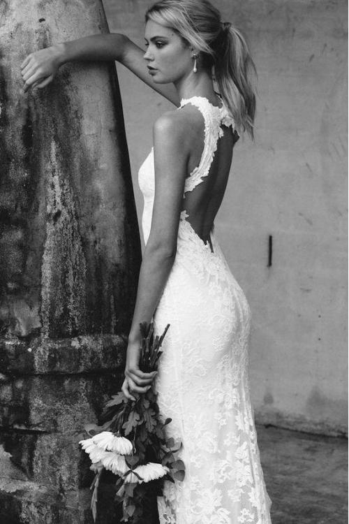Sexy Illusion Neck Sleeveless Split Long Lace Wedding Dress