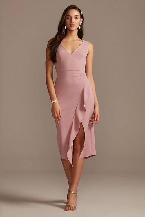 Sheath/Column V-neck Sleeveless Ruffles Split Tea-length Short Bridesmaid Dresses