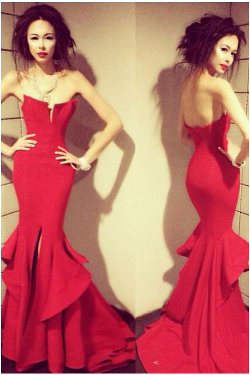 Red Strapless Meramid Ruffled Jersey Prom Dress