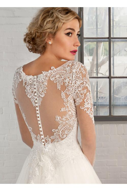 Illusion Jewel Neck Long Sleeved Lace Pattern A-line Tullle Wedding Dress