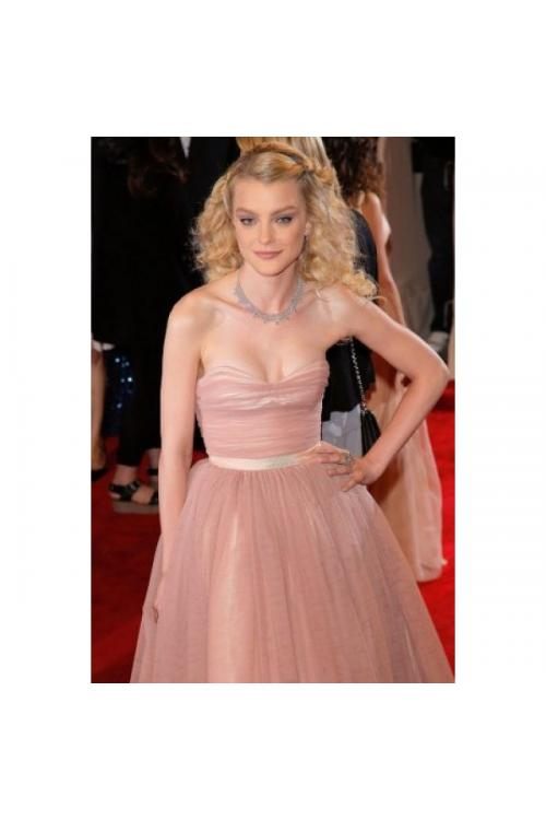 High Low Strapless Ruching High Low Tulle Prom Dress with Ribbon