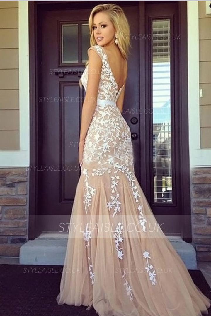 Mermaid Bateau Neck Sleeveless Lace Appliques Sweep/Brush Train Long Tulle Prom Dress