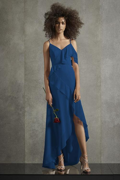 A-line Spaghetti Straps One Sleeve Ruffles Split Asymmetrical/High Low Long Chiffon Bridesmaid Dresses with Ribbon