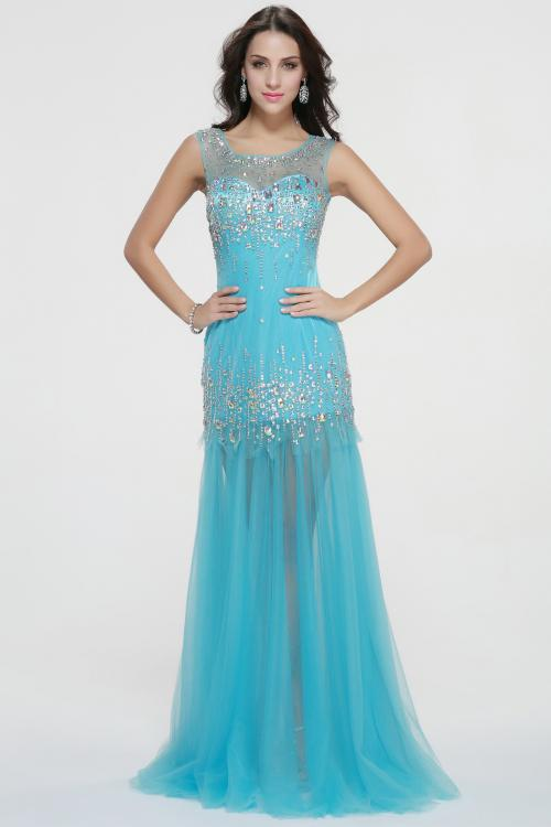Sleeveless Illusion Neck Beading Long Trumpet Full Back Prom Dress
