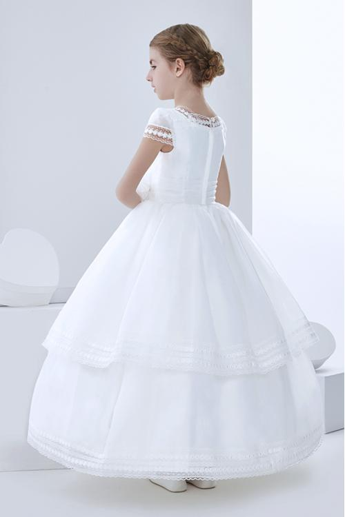 Ball Gown Short Sleeve Hand Made Flowers Floor-length Organza Communion Dress