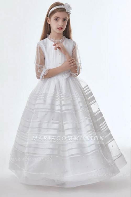 Nectarean Jewel Neck Bow(s) Pearl Detailing Floor-length Long Organza Communion Dresses