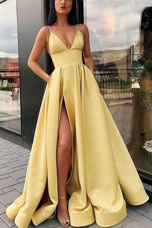 A-line V-neck Sleeveless Split Floor-length Long Satin Prom Dress