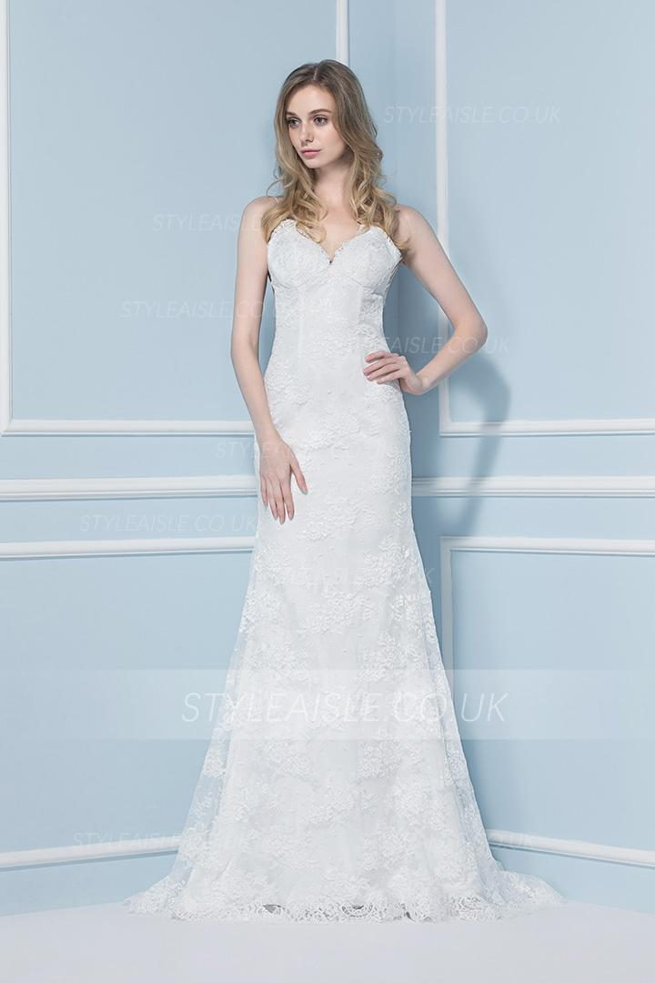 Spaghetti Straps Exquisite Sheath Lace Backless Wedding Dress