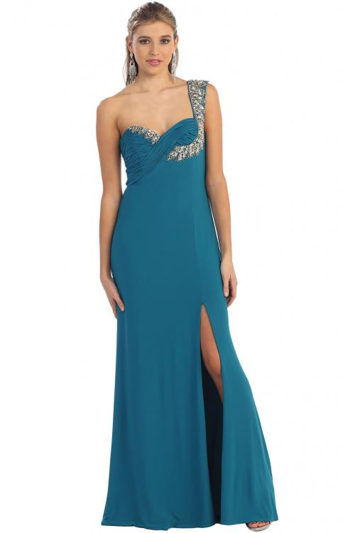 Sexy One Shoulder Zipper Chiffon A-line Sleeveless Prom Dress