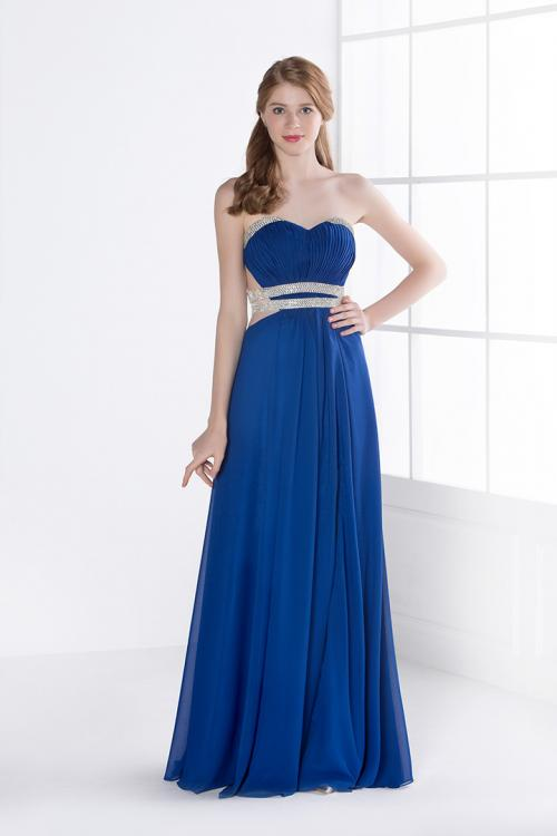 Long Royal Blue Strapless Side Beaded Cut Out Split Front Prom Dress