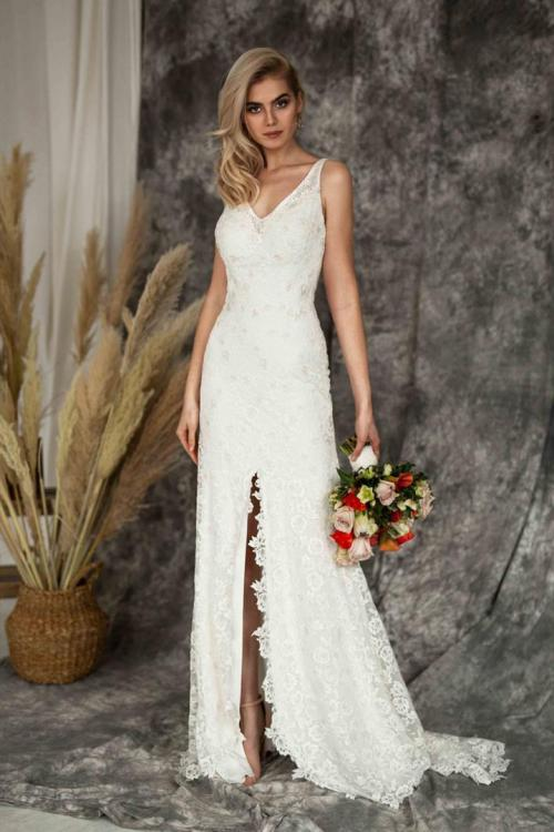 Elegant Ivory V-neck Sleeveless Lace Buttons Split Sweep Train Long Wedding Dresses with V Back