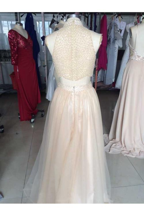 Two Piece High Neck Sparkling Long Blush Tulle Prom Dress