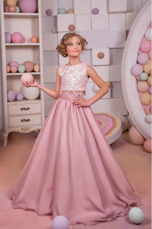 Two Piece Sleeveless Jewel Neck Lace Long Chiffon Flower Girl Dress