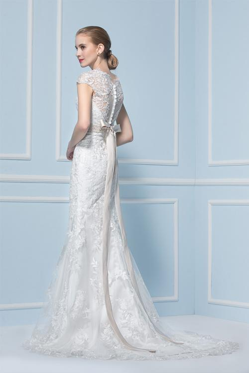 Sheath V-neck Cap Sleeve Lace Sweep/Brush Train Wedding Dresses