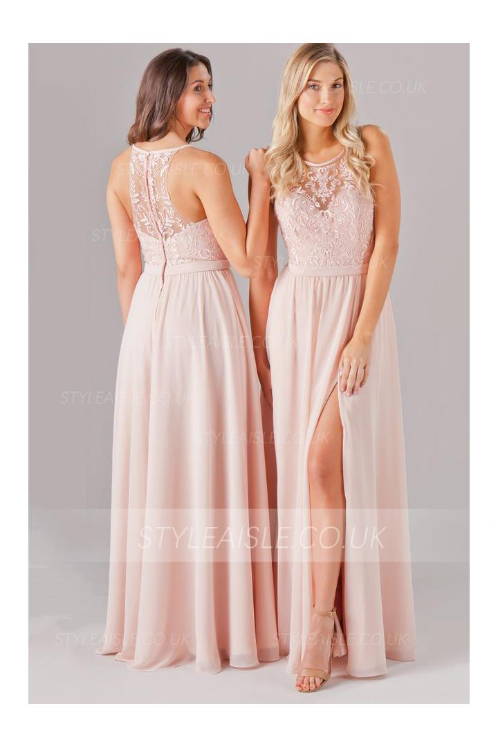 Blush Sleeveless Bateau Neck Long Blush Chiffon Bridesmaid Dress with Split