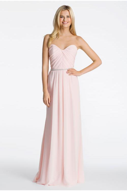 Hot Sale Blush Pleated Bodice Slim A-line Chiffon Bridesmaid Dress with Belt