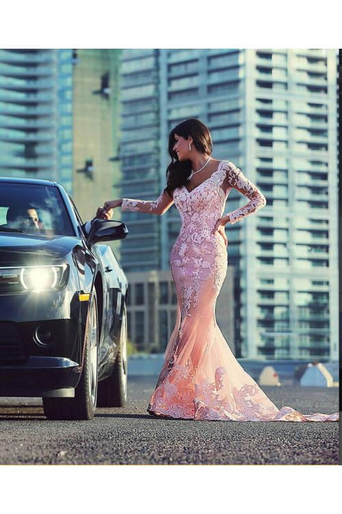 1bf1a7a3e9e9 Delicate Lace Appliqued Long Sleeved Mermaid Tulle Lace Covered Long Prom  Dress ...