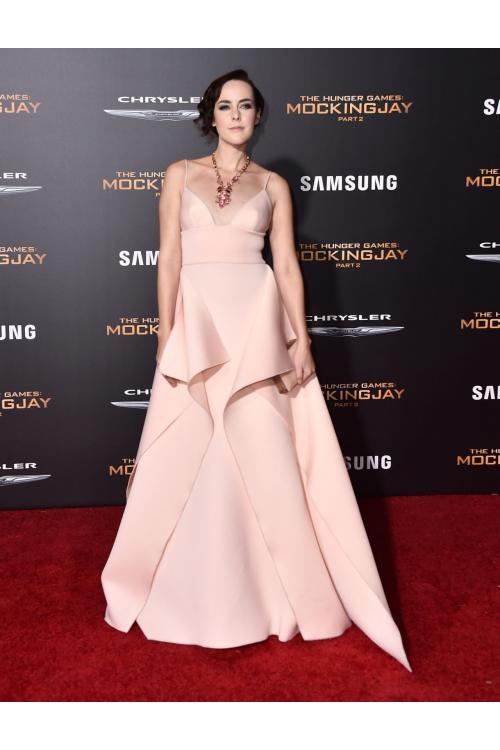 Jena Malone Los Angeles V Neck Spaghetti Straps A-line Blush Satin Prom Dress