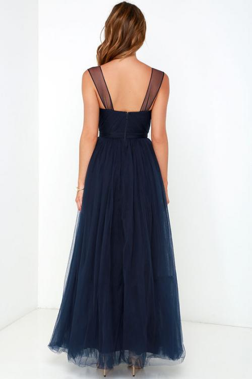 Navy Shoulder Straps A-line Tulle Long Bridesmaid Dress