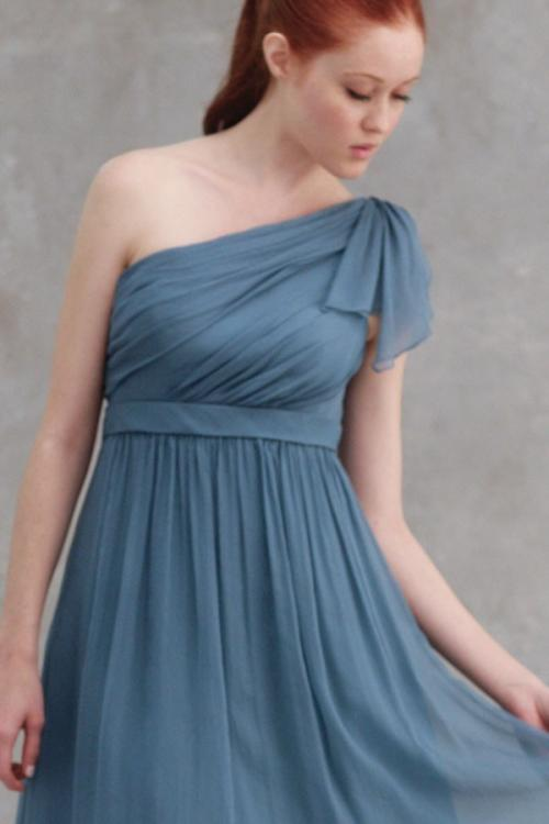 One Shoulder Pleated Short/mini Chiffon Bridesmaid Dress