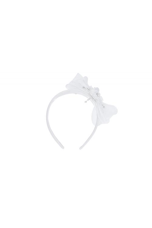 Pearl Flower White Child Hair Accessories With Embroidery