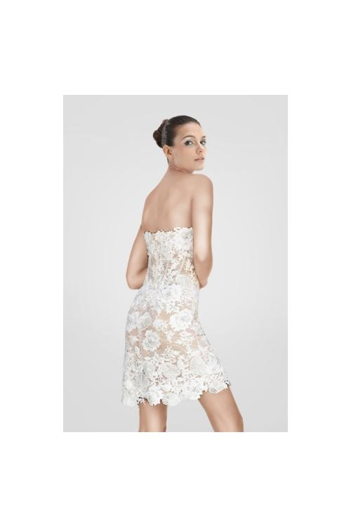 Knee Length Strapless Floral Lace Cocktail Dress