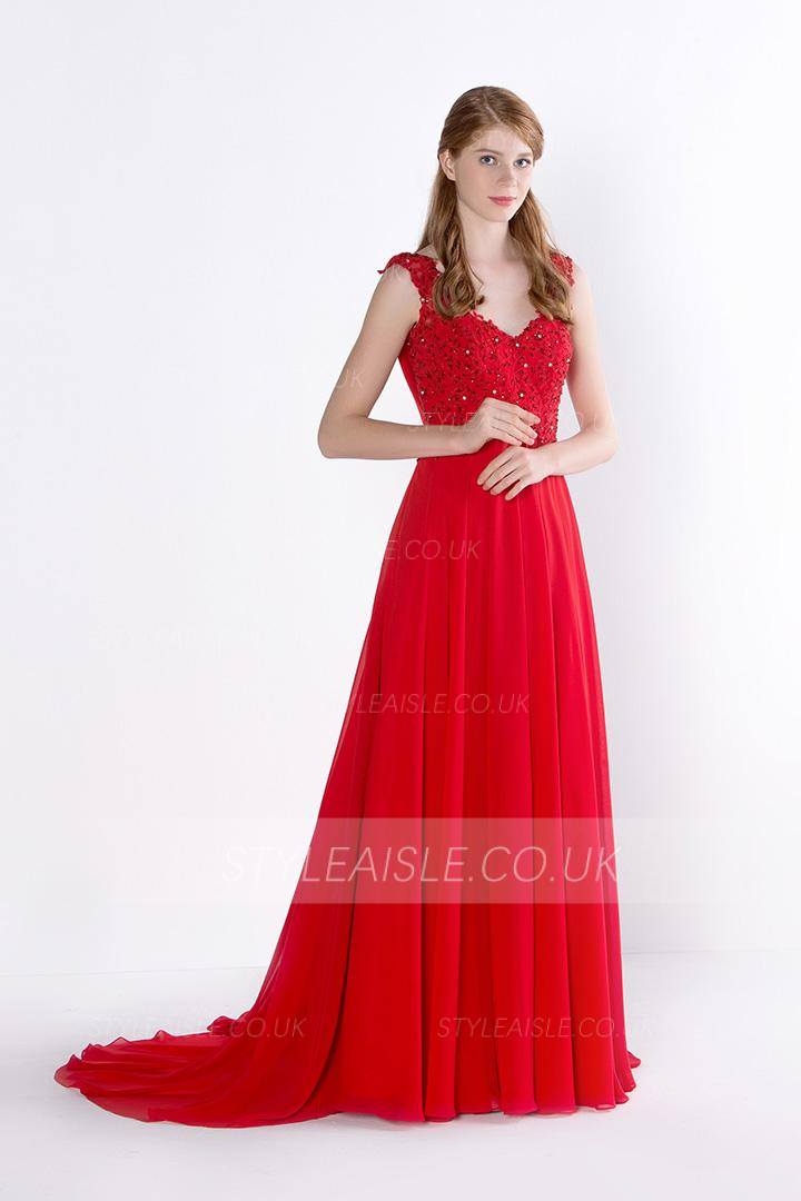 A-line Shoulder Straps Beading Lace Long Prom Dress
