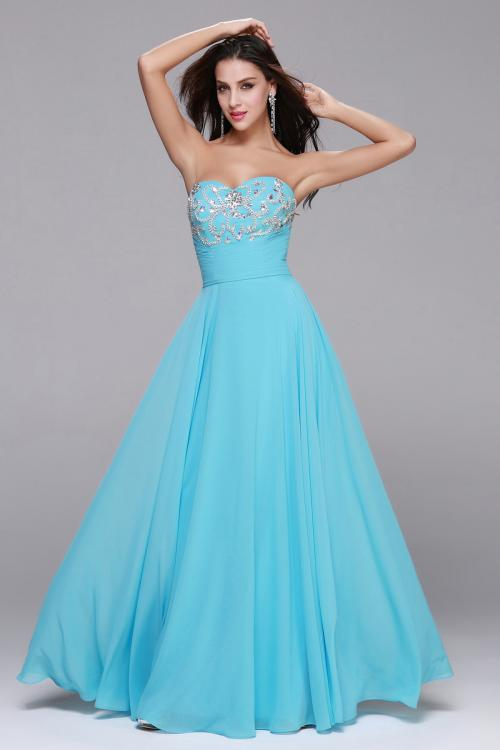 Beading Strapless Sweetheart Long Blue Chiffon A-line Prom Dress