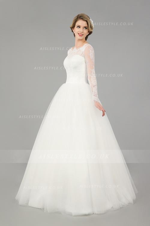 Modest Long Sleeves Ball Gown Vintage Lace Top Long Ivory Tulle Wedding Dress