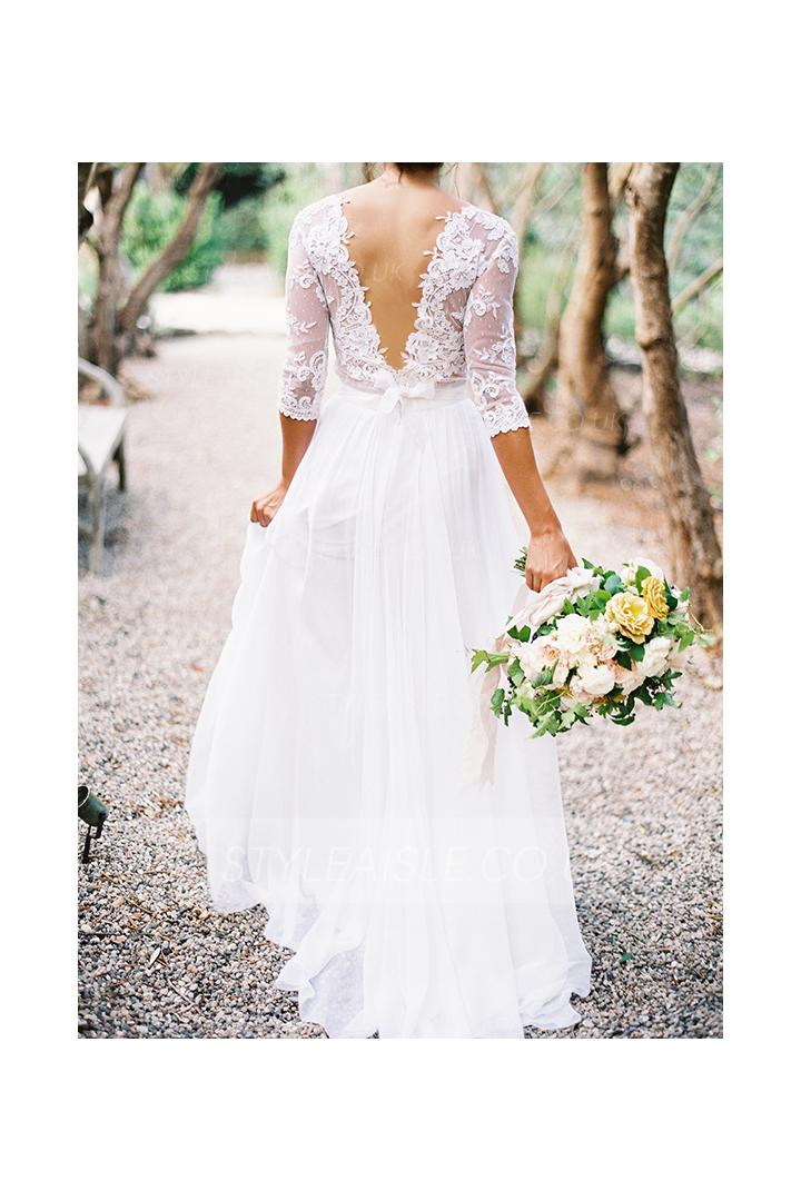 Rustic 3/4 Sleeved Lace top A-line Chiffon Wedding Dress with V Neck