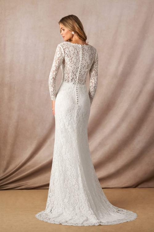 Elegant Mermaid Illusion Neck Long Sleeves Buttons Lace Sweep Train Long Wedding Dresses