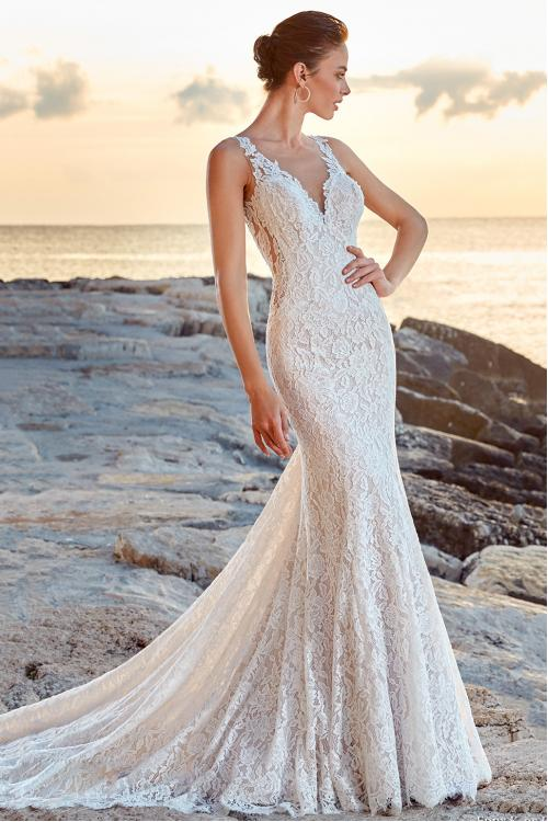 Sheer Back Illusion V Neck Long Mermaid Lace Wedding Dress