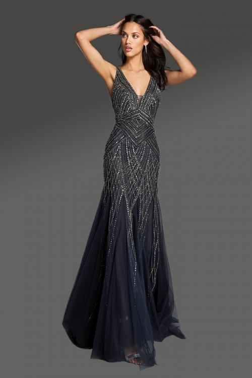 Elegant & Luxurious Designer Trumpet/Mermaid V-neck Sleeveless Beading Sweep/Brush Train Long Tulle Cocktail Dresses