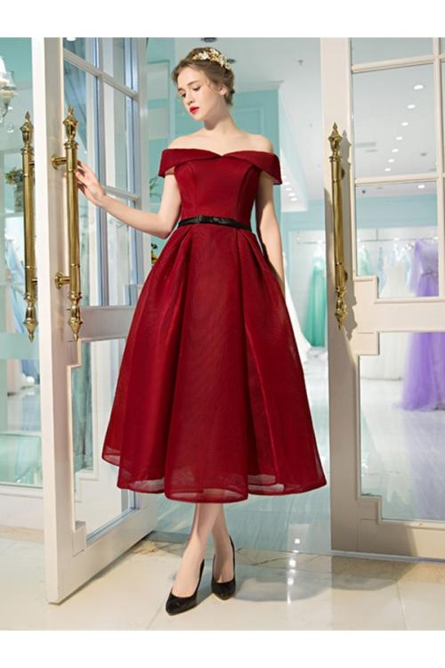 A-line Tea Length Off Shoulder Burgundy Organza Prom Dress