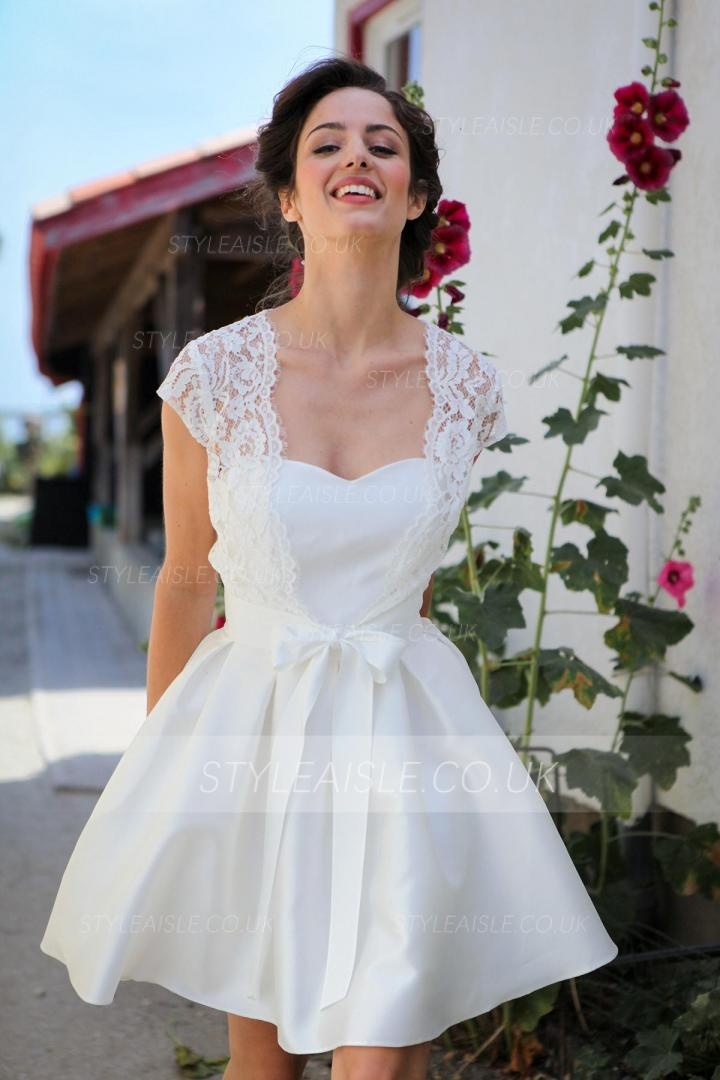 Cap Sleeved Full Back Lace Covered A-line Short Taffeta Wedding Dress
