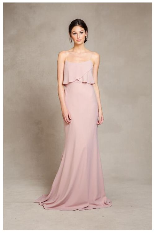 Casual Strapless Flutter Front Long Sheath Chiffon Pinky Bridesmaid Dress