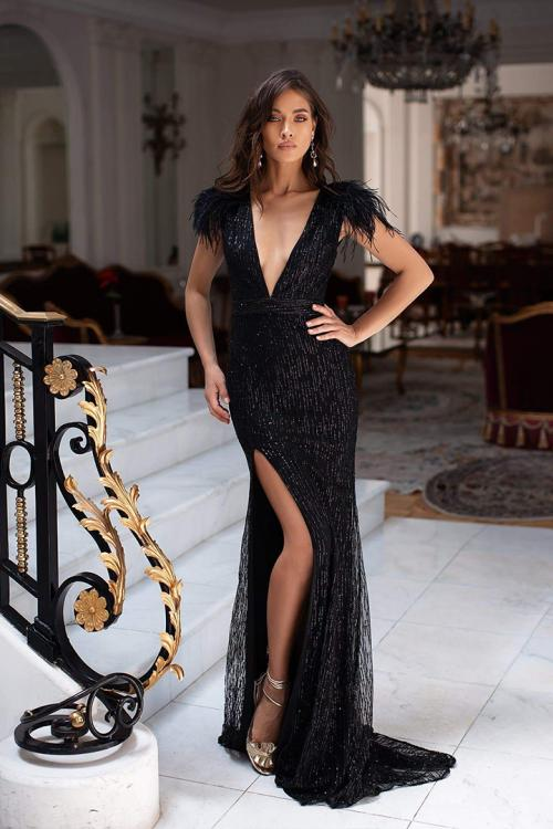 Deep V-neck Cap Sleeve Feathers Split Sheath/Column Floor-length Long Sequins Evening Dresses