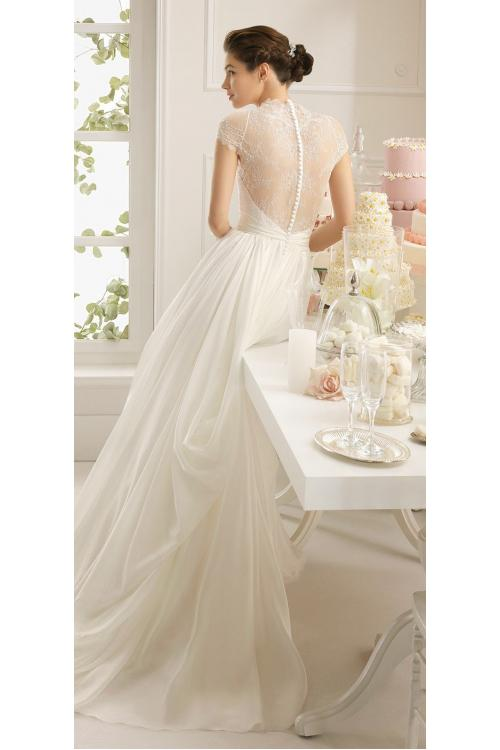Vintage Lace Detail V Neck A-line Long Chiffon Wedding Dress with Full Back