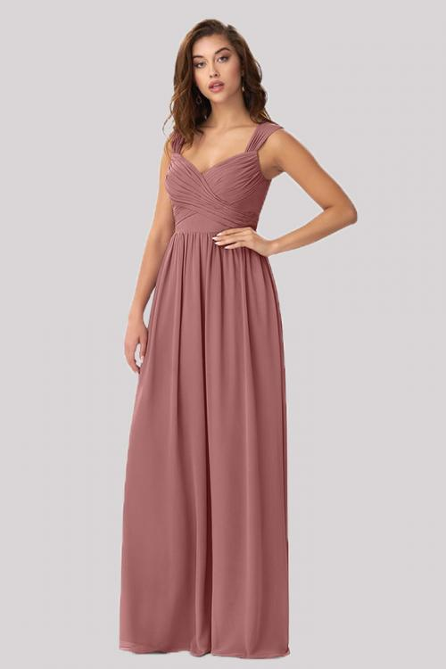 A-line Shoulder Straps Sleeveless Ruffles Floor-length Long Chiffon Bridesmaid Dresses with Pockets