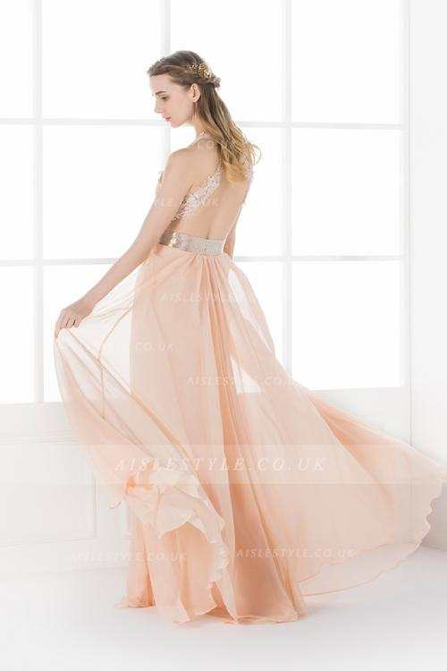 Sexy Lace Appliques Long A-line Chiffon Backless Prom Dress with Slit
