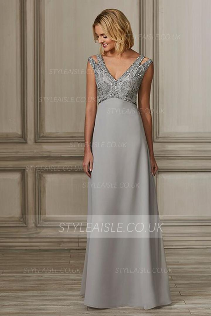 A-line V-neck Sleeveless Beading Bodice Floor-length Long Satin Prom Dresses