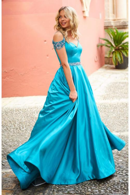 Chic Crystal Beaded Straps Long A-line Pool Blue Prom Dress