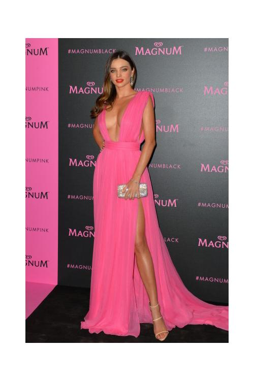 Miranda Kerr Sexy Rose Plunging Neckline Thigh high Split Prom Dress 2017 Cannes Film Festival
