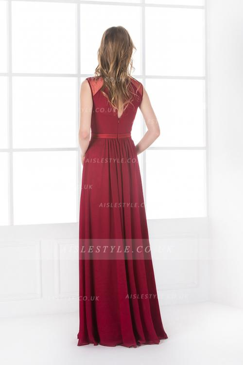 A-line Bateau Sleeveless Sashes/Ribbons Floor-length Long Burgundy Bridesmaid Dress