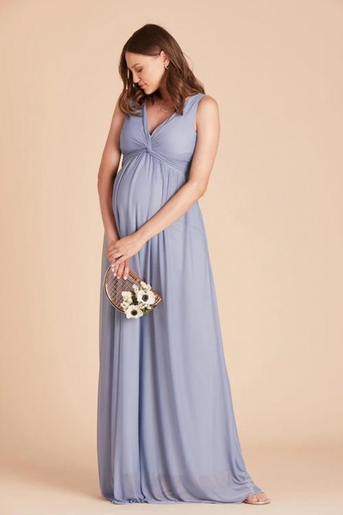 A-line V-neck Sleeveless Empire Waist Ruching Floor-length Long Chiffon Maternity Bridesmaid Dresses with Pocketss