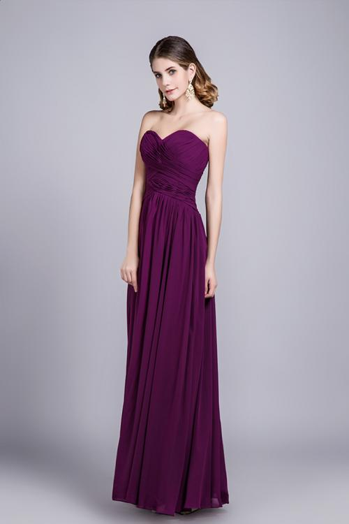 Simple Sweetheart Sleeveless Ruching Floor length Long Chiffon Bridesmaid Dress