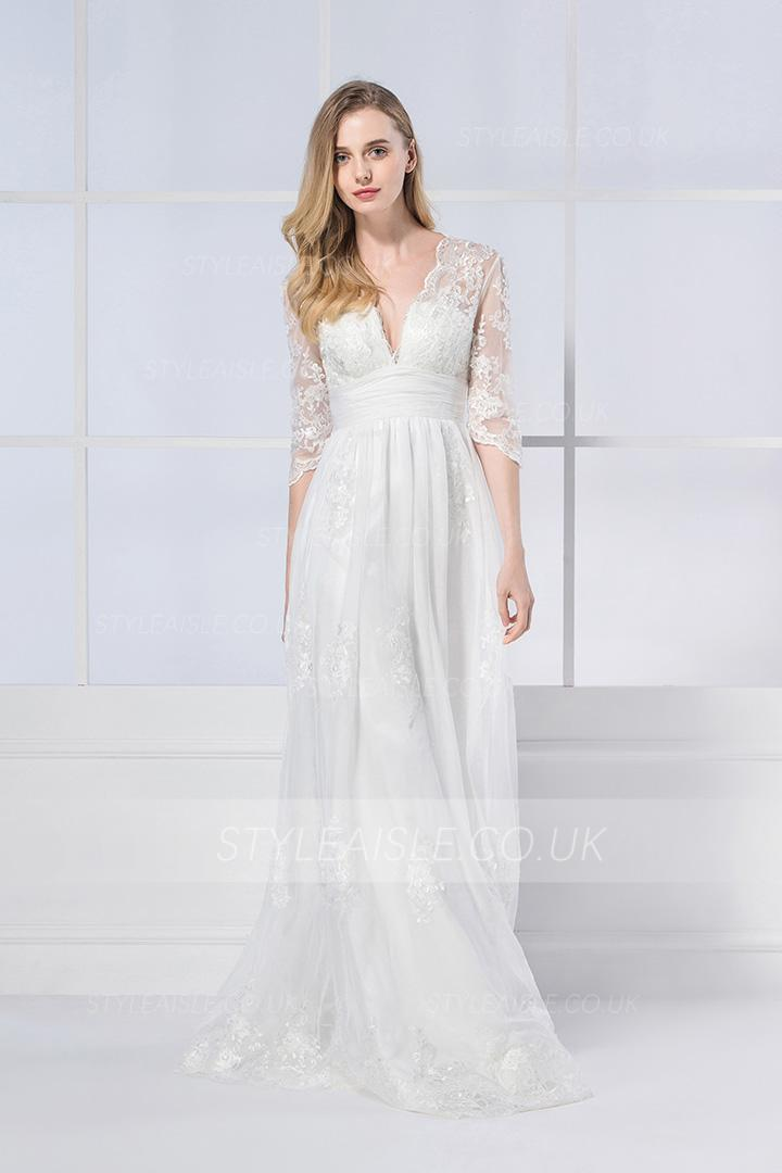 A line wedding dress with long sleeves for Long sleeve dresses to wear to a wedding